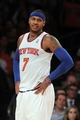 Nov 14, 2013; New York, NY, USA; New York Knicks small forward Carmelo Anthony (7) reacts against the Houston Rockets during the third quarter of a game at Madison Square Garden. The Rockets beat the Knicks 109-106. Mandatory Credit: Brad Penner-USA TODAY Sports