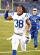 Nov 14, 2013; Nashville, TN, USA; Indianapolis Colts safety Sergio Brown (38) celebrates at the end of the game against the Tennessee Titans at LP Field. The Colts defeated the Titans 30-27. Mandatory Credit: Kirby Lee-USA TODAY Sports