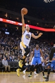 November 14, 2013; Oakland, CA, USA; Golden State Warriors point guard Stephen Curry (30) shoots the ball against the Oklahoma City Thunder during the third quarter at Oracle Arena. The Warriors defeated the Thunder 116-115. Mandatory Credit: Kyle Terada-USA TODAY Sports