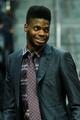 Nov 15, 2013; Atlanta, GA, USA; Philadelphia 76ers center Nerlens Noel (4) on the bench in the second half against the Atlanta Hawks at Philips Arena. The Hawks won 113-103. Mandatory Credit: Daniel Shirey-USA TODAY Sports