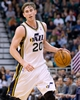 Nov 15, 2013; Salt Lake City, UT, USA; Utah Jazz shooting guard Gordon Hayward (20) controls the ball during the first half against the San Antonio Spurs at EnergySolutions Arena. Mandatory Credit: Russ Isabella-USA TODAY Sports