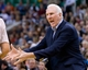 Nov 15, 2013; Salt Lake City, UT, USA; San Antonio Spurs head coach Gregg Popovich reacts during the second half against the Utah Jazz at EnergySolutions Arena. San Antonio won 91-82. Mandatory Credit: Russ Isabella-USA TODAY Sports