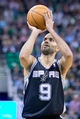 Nov 15, 2013; Salt Lake City, UT, USA; San Antonio Spurs point guard Tony Parker (9) shoots a free throw during the second half against the Utah Jazz at EnergySolutions Arena. San Antonio won 91-82. Mandatory Credit: Russ Isabella-USA TODAY Sports