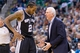 Nov 15, 2013; Salt Lake City, UT, USA; San Antonio Spurs head coach Gregg Popovich talks with small forward Kawhi Leonard (2) during the second half against the Utah Jazz at EnergySolutions Arena. San Antonio won 91-82. Mandatory Credit: Russ Isabella-USA TODAY Sports