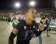 Nov 15, 2013; Pasadena, CA, USA; UCLA Bruins quarterback Brett Hundley (17) celebrates after the game against the Washington Huskies at Rose Bowl. Mandatory Credit: Kirby Lee-USA TODAY Sports
