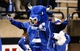 Nov 12, 2013; Toledo, OH, USA; Buffalo Bulls mascot Victor E. Bull throws his arms up during the third quarter against the Toledo Rockets at Glass Bowl. The Rockets beat the Bulls 51-41. Mandatory Credit: Raj Mehta-USA TODAY Sports
