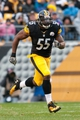 Nov 10, 2013; Pittsburgh, PA, USA; Pittsburgh Steelers linebacker Stevenson Sylvester (55) runs down the field on kickoff coverage during the third quarter of a game against the Buffalo Bills at Heinz Field. Pittsburgh won the game 23-10. Mandatory Credit: Mark Konezny-USA TODAY Sports