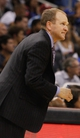 Nov 3, 2013; Orlando, FL, USA; Brooklyn Nets assistant coach Lawrence Frank against the Orlando Magic during the second half at Amway Center. Mandatory Credit: Kim Klement-USA TODAY Sports