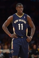 Nov 12, 2013; Los Angeles, CA, USA; New Orleans Pelicans guard Jrue Holiday (11) during the game against the Los Angeles Lakers at Staples Center. The Lakers defeated the Pelicans 116-95. Mandatory Credit: Kirby Lee-USA TODAY Sports