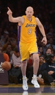 Nov 12, 2013; Los Angeles, CA, USA; Los Angeles Lakers center Chris Kaman (9) celebrates during the game against the New Orleans Pelicans at Staples Center. The Lakers defeated the Pelicans 116-95. Mandatory Credit: Kirby Lee-USA TODAY Sports
