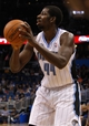 Nov 3, 2013; Orlando, FL, USA; Orlando Magic power forward Andrew Nicholson (44) against the Brooklyn Nets during the second half at Amway Center. Mandatory Credit: Kim Klement-USA TODAY Sports