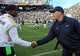Nov 16, 2013; University Park, PA, USA; Purdue Boilermakers head coach Darrell Hazell (left) and Penn State Nittany Lions head coach Bill O'Brien (right) shake hands following the game at Beaver Stadium.  Penn State defeated Purdue  45-21.  Mandatory Credit: Rich Barnes-USA TODAY Sports