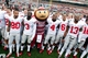 Nov 16, 2013; Champaign, IL, USA;  Ohio State Buckeyes players sing the alma mater after defeating the Illinois Fighting Illini 60-35 at Memorial Stadium. Mandatory Credit: Bradley Leeb-USA TODAY Sports