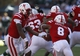Nov 16, 2013; Lincoln, NE, USA; Nebraska Cornhuskers quarterback Tommy Armstrong Jr. (4) hands off to running back Ameer Abdullah (8) during the game against the Michigan State Spartans in the first quarter at Memorial Stadium. Mandatory Credit: Bruce Thorson-USA TODAY Sports