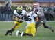 Nov 16, 2013; Evanston, IL, USA; Michigan Wolverines wide receiver Jeremy Gallon (21) runs with the ball against the Northwestern Wildcats during the first half at Ryan Field. Mandatory Credit: David Banks-USA TODAY Sports