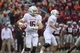 Nov 16, 2013; Blacksburg, VA, USA; Maryland Terrapins quarterback C.J. Brown (16) looks to pass. The Terapins defeated the Hokies 27-24 in overtime at Lane Stadium. Mandatory Credit: Bob Donnan-USA TODAY Sports