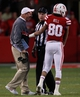 Nov 16, 2013; Lincoln, NE, USA; Nebraska Cornhuskers head coach Bo Pelini and receiver Kenny Bell (80) talk to an official during the game against the Michigan State Spartans in the third quarter at Memorial Stadium. Mandatory Credit: Bruce Thorson-USA TODAY Sports