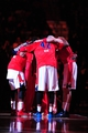 Nov 16, 2013; Washington, DC, USA; Washington Wizards forward Nene (42) huddles with teammates prior to the game against the Cleveland Cavaliers at Verizon Center. Mandatory Credit: Evan Habeeb-USA TODAY Sports
