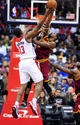 Nov 16, 2013; Washington, DC, USA; Washington Wizards forward Kevin Seraphin (13) gets his shot blocked by Cleveland Cavaliers forward Tristan Thompson (13) at Verizon Center. Mandatory Credit: Evan Habeeb-USA TODAY Sports