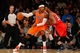 Nov 16, 2013; New York, NY, USA;  New York Knicks small forward Carmelo Anthony (7) dribbles against Atlanta Hawks power forward Mike Scott (32) during the first quarter at Madison Square Garden. Mandatory Credit: Anthony Gruppuso-USA TODAY Sports