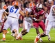 Nov 16, 2013; Columbia, SC, USA; South Carolina Gamecocks defensive end Jadeveon Clowney (7) rushes the quarterback against the Florida Gators in the second quarter at Williams-Brice Stadium. Mandatory Credit: Jeff Blake-USA TODAY Sports