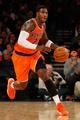 Nov 16, 2013; New York, NY, USA;  New York Knicks shooting guard Iman Shumpert (21) drives the lane during the third quarter against the Atlanta Hawks at Madison Square Garden. Atlanta Hawks won 110-90.  Mandatory Credit: Anthony Gruppuso-USA TODAY Sports