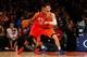 Nov 16, 2013; New York, NY, USA;  Atlanta Hawks center Al Horford (15) drives against New York Knicks power forward Andrea Bargnani (77) during the third quarter at Madison Square Garden. Atlanta Hawks won 110-90.  Mandatory Credit: Anthony Gruppuso-USA TODAY Sports
