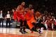 Nov 16, 2013; New York, NY, USA;  New York Knicks point guard Raymond Felton (2) drives past Atlanta Hawks power forward Mike Scott (32) during the third quarter at Madison Square Garden. Atlanta Hawks won 110-90.  Mandatory Credit: Anthony Gruppuso-USA TODAY Sports