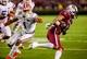 Nov 16, 2013; Columbia, SC, USA; South Carolina Gamecocks wide receiver Damiere Byrd (1) gets around Florida Gators defensive back Vernon Hargreaves III (1) in the second half at Williams-Brice Stadium. Mandatory Credit: Jeff Blake-USA TODAY Sports