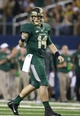 Nov 16, 2013; Arlington, TX, USA; Baylor Bears quarterback Bryce Petty (14) points to a teammate after a touchdown in the fourth quarter of the game against the Texas Tech Red Raiders at AT&T Stadium.  Baylor beat Texas Tech 63-34. Mandatory Credit: Tim Heitman-USA TODAY Sports
