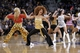 Nov 16, 2013; Oakland, CA, USA; Golden State Warriors dancers perform during a timeout against the Utah Jazz in the first quarter at Oracle Arena. The Warriors defeated the Jazz 102-88. Mandatory Credit: Cary Edmondson-USA TODAY Sports