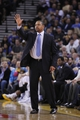 Nov 16, 2013; Oakland, CA, USA; Golden State Warriors head coach Mark Jackson calls a play against the Utah Jazz in the third quarter at Oracle Arena. The Warriors defeated the Jazz 102-88. Mandatory Credit: Cary Edmondson-USA TODAY Sports