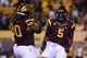 Nov 16, 2013; Tempe, AZ, USA; (Editor's Note: Caption Correction) Arizona State Sun Devils linebacker Chris Young (5) and Arizona State Sun Devils defensive tackle Will Sutton (90) celebrate after stopping an Oregon State Beavers third down at Sun Devil Stadium. Mandatory Credit: Jennifer Stewart-USA TODAY Sports