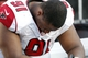 Nov 17, 2013; Tampa, FL, USA; Atlanta Falcons defensive tackle Corey Peters (91) reacts with his head down with a minute left  in the fourth quarter against the Tampa Bay Buccaneers at Raymond James Stadium. Tampa Bay Buccaneers defeated the Atlanta Falcons 41-28. Mandatory Credit: Kim Klement-USA TODAY Sports