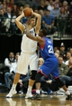 Nov 18, 2013; Dallas, TX, USA; Dallas Mavericks forward Dirk Nowitzki (41) with the ball in the post against Philadelphia 76ers forward Thaddeus Young (21) in the second quarter at American Airlines Center. Mandatory Credit: Matthew Emmons-USA TODAY Sports