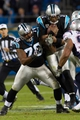 Nov 18, 2013; Charlotte, NC, USA; Carolina Panthers quarterback Cam Newton (1) runs through a hole during the third quarter against the New England Patriots at Bank of America Stadium. The Panthers defeated the Patriots 24-20. Mandatory Credit: Jeremy Brevard-USA TODAY Sports