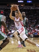 Nov 19, 2013; Houston, TX, USA; Houston Rockets small forward Chandler Parsons (25) drives the ball during the second quarter against the Boston Celtics at Toyota Center. Mandatory Credit: Troy Taormina-USA TODAY Sports