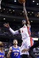 Nov 19, 2013; Auburn Hills, MI, USA; Detroit Pistons small forward Josh Smith (6) shoots over New York Knicks power forward Andrea Bargnani (77) in the second half at The Palace of Auburn Hills. Detroit 92-86. Mandatory Credit: Rick Osentoski-USA TODAY Sports