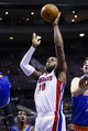 Nov 19, 2013; Auburn Hills, MI, USA; Detroit Pistons power forward Greg Monroe (10) shoots in the fourth quarter against the New York Knicks at The Palace of Auburn Hills. Detroit 92-86. Mandatory Credit: Rick Osentoski-USA TODAY Sports