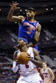 Nov 19, 2013; Auburn Hills, MI, USA; New York Knicks power forward Kenyon Martin (3) leaps up on Detroit Pistons small forward Josh Smith (6) in the fourth quarter at The Palace of Auburn Hills. Detroit 92-86. Mandatory Credit: Rick Osentoski-USA TODAY Sports