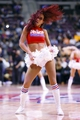 Nov 19, 2013; Auburn Hills, MI, USA; Detroit Pistons dancer performs during a time out in the second half against the New York Knicks at The Palace of Auburn Hills. Mandatory Credit: Rick Osentoski-USA TODAY Sports
