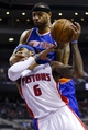 Nov 19, 2013; Auburn Hills, MI, USA; Detroit Pistons small forward Josh Smith (6) is fouled by New York Knicks power forward Kenyon Martin (3) in the fourth quarter at The Palace of Auburn Hills. Detroit 92-86. Mandatory Credit: Rick Osentoski-USA TODAY Sports