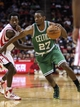 Nov 19, 2013; Houston, TX, USA; Boston Celtics shooting guard Jordan Crawford (27) drives the ball during the third quarter as Houston Rockets point guard Patrick Beverley (2) defends at Toyota Center. Mandatory Credit: Troy Taormina-USA TODAY Sports