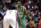 Nov 19, 2013; Houston, TX, USA; Boston Celtics shooting guard Jordan Crawford (27) brings the ball up the court during the third quarter as Houston Rockets point guard Patrick Beverley (2) defends at Toyota Center. Mandatory Credit: Troy Taormina-USA TODAY Sports