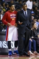 Nov 19, 2013; Auburn Hills, MI, USA; Detroit Pistons head coach Maurice Cheeks talks to point guard Peyton Siva (34) in the second half against the New York Knicks at The Palace of Auburn Hills. Mandatory Credit: Rick Osentoski-USA TODAY Sports