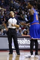 Nov 19, 2013; Auburn Hills, MI, USA; NBA referee Dan Crawford (43) reacts to New York Knicks shooting guard J.R. Smith (8) in the second half against the Detroit Pistons at The Palace of Auburn Hills. Mandatory Credit: Rick Osentoski-USA TODAY Sports