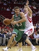 Nov 19, 2013; Houston, TX, USA; Boston Celtics power forward Kris Humphries (43) drives the ball during the fourth quarter as Houston Rockets center Omer Asik (3) defends at Toyota Center. The Rockets defeated the Celtics 109-85. Mandatory Credit: Troy Taormina-USA TODAY Sports