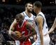 Nov 20, 2013; Minneapolis, MN, USA; Los Angeles Clippers guard Chris Paul (3) is fouled by Minnesota Timberwolves center Nikola Pekovic (14) during the second quarter at Target Center. Mandatory Credit: Brace Hemmelgarn-USA TODAY Sports