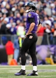 Nov 10, 2013; Baltimore, MD, USA; Baltimore Ravens quarterback Joe Flacco (5) looks on during the game against the Cincinnati Bengals at M&T Bank Stadium. Mandatory Credit: Evan Habeeb-USA TODAY Sports