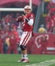 Nov 16, 2013; Madison, WI, USA; Wisconsin Badgers quarterback Joel Stave (2) during the game against the Indiana Hoosiers at Camp Randall Stadium. Wisconsin won 51-3.  Mandatory Credit: Jeff Hanisch-USA TODAY Sports